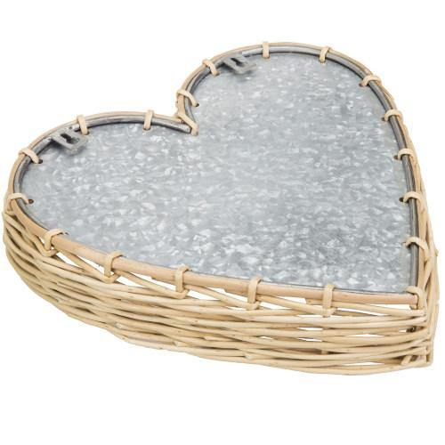 Heart-Shaped Rattan & Galvanized Metal Serving Tray/Wall Decoration - MyGift