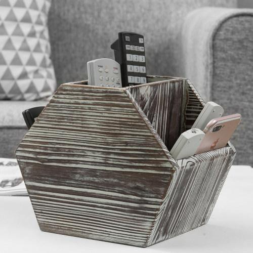Hexagon-Shaped Rustic Torched Wood Remote Control Holder Caddy - MyGift