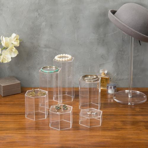 Hexagonal Clear Acrylic Jewelry Display Riser Stands, Set of 6