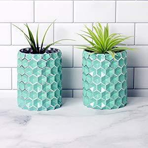 Honeycomb Aqua Turquoise Glass Vases, Set of 2 - MyGift Enterprise LLC