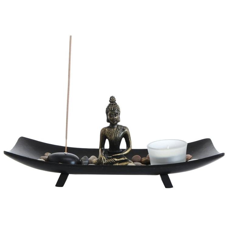 Zen Garden Buddha Statue w/ Glass Tealight Candle & Incense Burner Holder, Black - MyGift Enterprise LLC