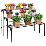 3 Tier Freestanding Modern Black Metal Shelf Plant Display Rack - MyGift Enterprise LLC
