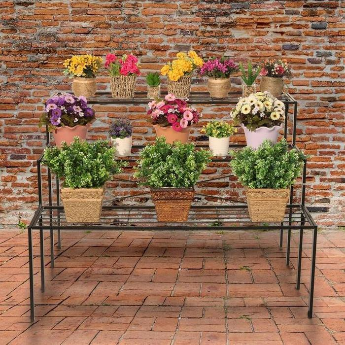 Industrial Metal Shelf Plant Display Rack