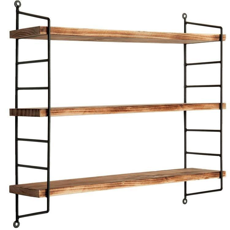 Modern Industrial Metal & Torched Wood Adjustable Wall Mounted 3-Tier Shelf - MyGift Enterprise LLC