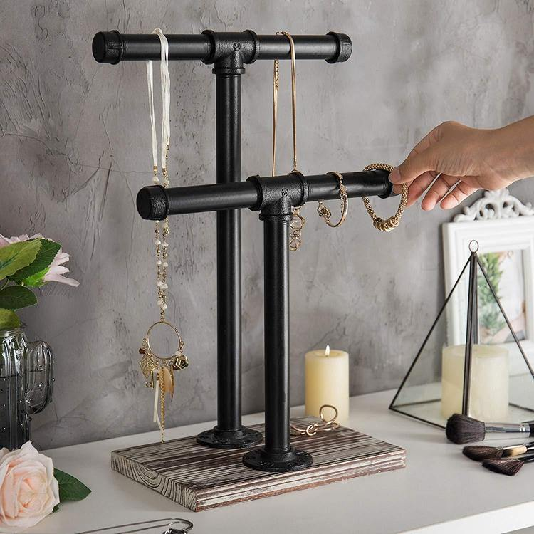 Industrial Pipe and Distressed Wood Jewelry Stand