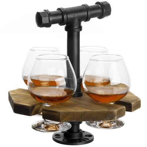 Industrial Pipe & Burnt Wood Beer/Whiskey Flight Set with 4 Glasses - MyGift