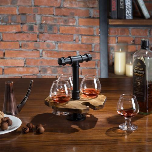 Industrial Pipe & Burnt Wood Beer/Whiskey Flight Set with 4 Glasses