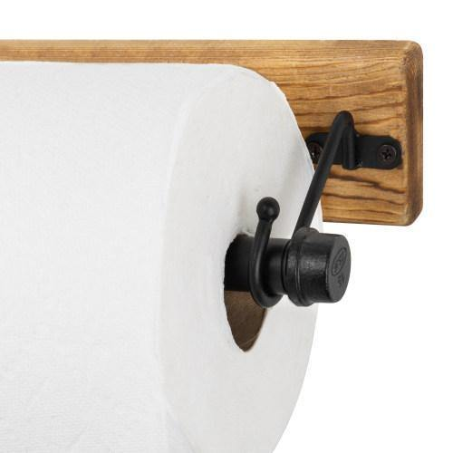 Industrial Pipe & Burnt Wood Paper Towel Holder - MyGift