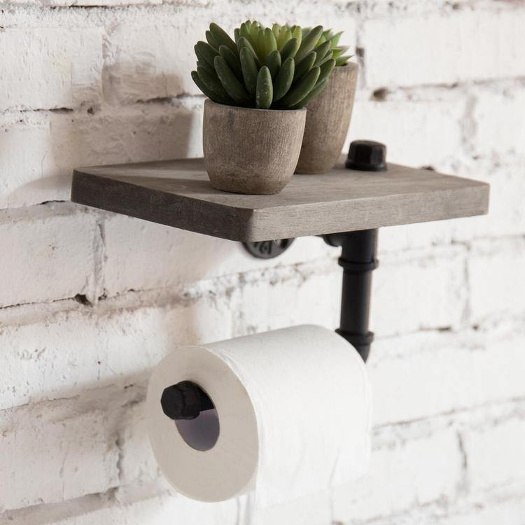 Industrial Pipe Design Toilet Paper Holder with Shelf, Grey Wood