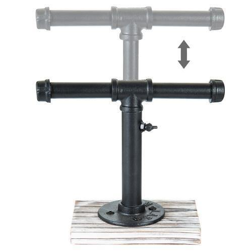 Industrial Pipe Jewelry Stand with Whitewashed Wood Base - MyGift