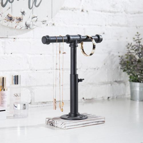 Industrial Pipe Jewelry Stand with Whitewashed Wood Base
