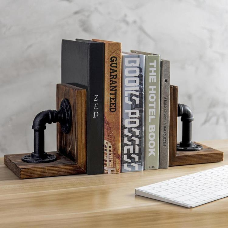 Industrial Pipe & Brown Wood Bookends - MyGift