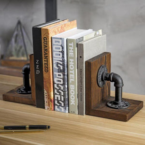 Industrial Pipe & Brown Wood Bookends
