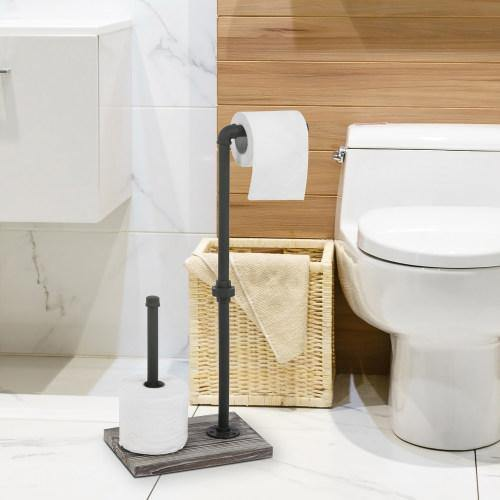 Industrial Pipe & Torched Wood Toilet Paper Dispenser with Roll Holder