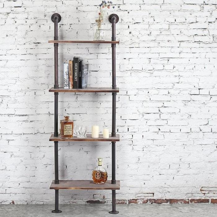 Industrial Style Metal and Wood 4-Tier Display Shelf, Freestanding Utility Rack with Wheels - MyGift Enterprise LLC