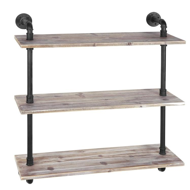 3-Shelf Industrial Style Pipe & Rustic Wood Wall Mounted Shelving Unit - MyGift Enterprise LLC