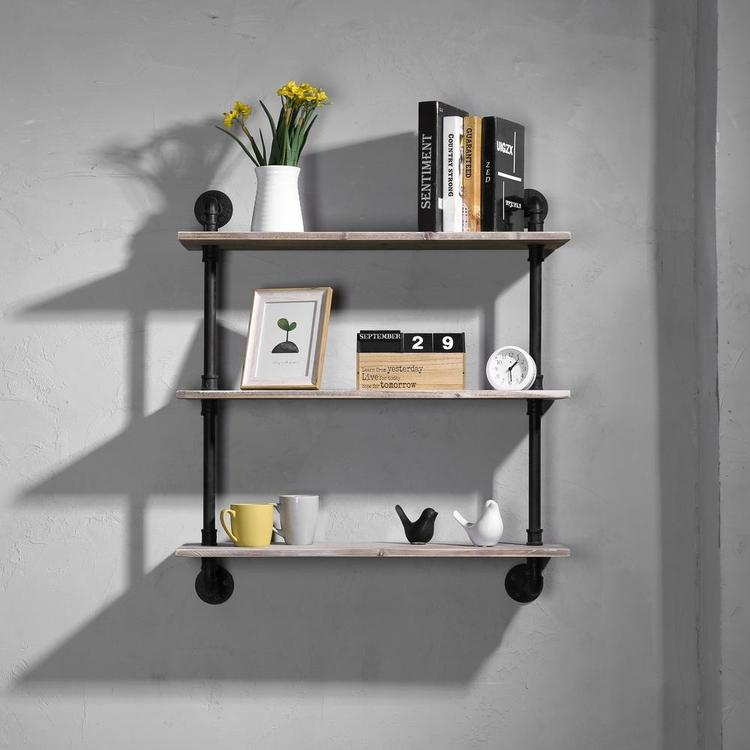 Industrial Style Pipe & Rustic Wood Shelves