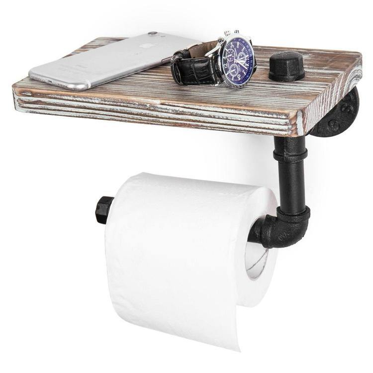 Industrial-Style Toilet Paper Holder with Shelf - MyGift