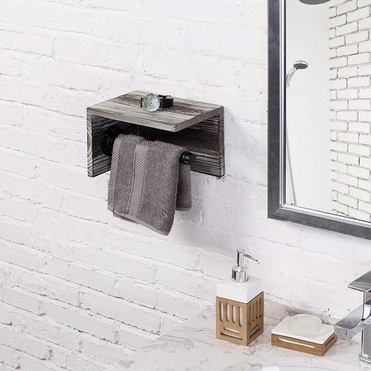 Industrial Towel Rack with Shelf, Torched Wood - MyGift