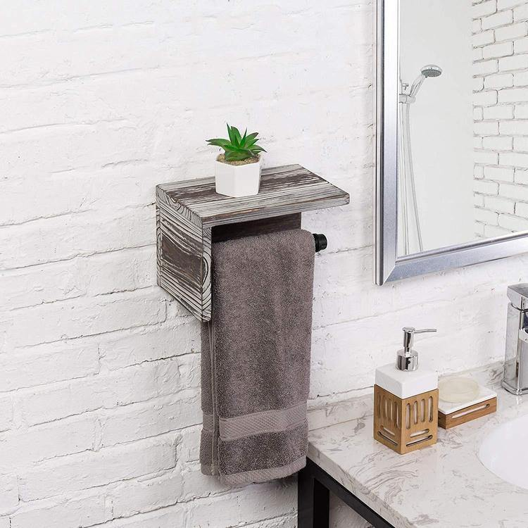 Industrial Towel Rack with Shelf, Torched Wood
