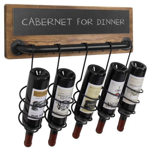 Industrial Wood & Pipe Design Wine Bottle Rack with Chalkboard Label