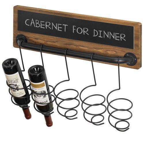 Industrial Wood & Pipe Design Wine Bottle Rack with Chalkboard Label - MyGift