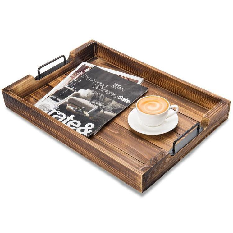 Rustic Torched Wood 20-Inch Serving Tray with Modern Black Metal Handles - MyGift Enterprise LLC