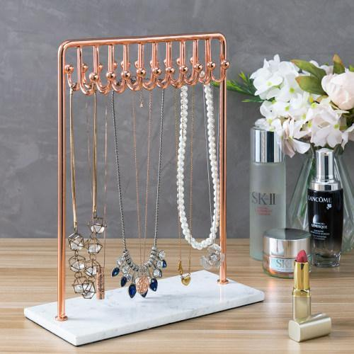 Rose Gold Metal Jewelry Display Stand with White Marble Base - MyGift