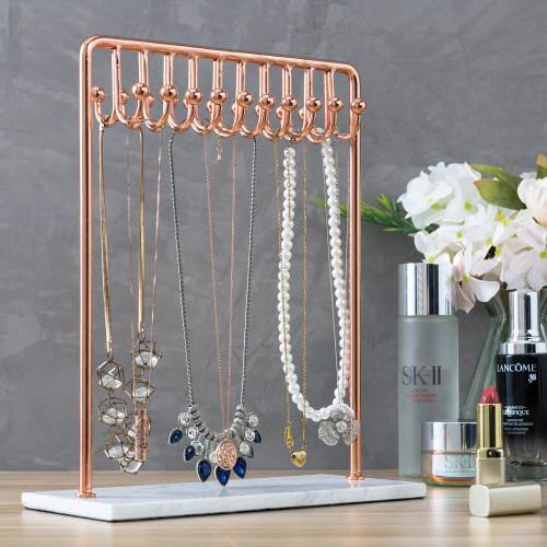 Rose Gold Metal Jewelry Display Stand With White Marble Base Mygift