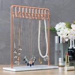 Rose Gold Metal Jewelry Display Stand with White Marble Base