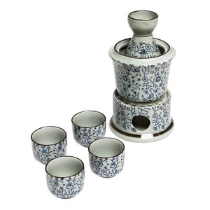 Exquisite Ceramic Blue Flowers Japanese Sake Set w/ 4 Shot Glass / Cups, Serving Carafe & Warmer Bowl - MyGift Enterprise LLC