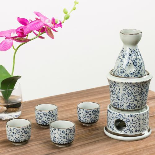 Japanese Sake Set with Warmer Ceramic Blue Floral Design