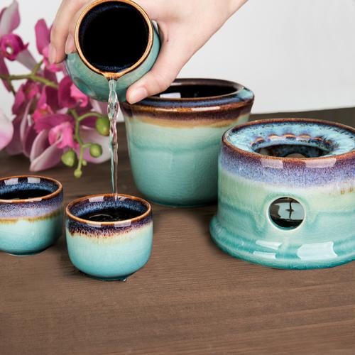 Japanese Style Ceramic Sake Serving Gift Set with Warmer, 7 Pcs, Purple - MyGift Enterprise LLC
