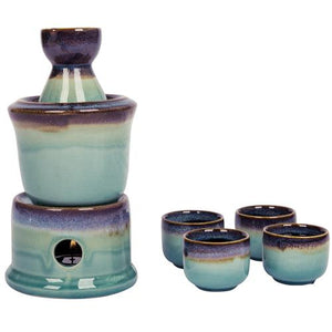 Japanese Style Ceramic Sake Set with Warmer