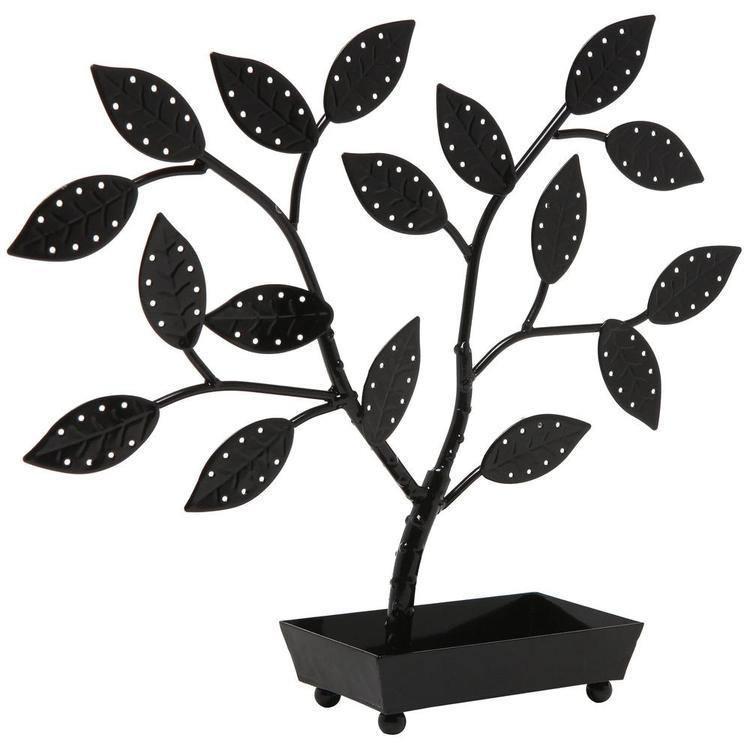 Jewelry Hanger Holder Tree with Ring Dish Tray, Black - MyGift Enterprise LLC