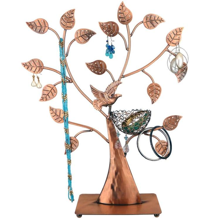 Bronze Bird Nest 48 Pair Jewelry Tree Organizer Stand - MyGift Enterprise LLC