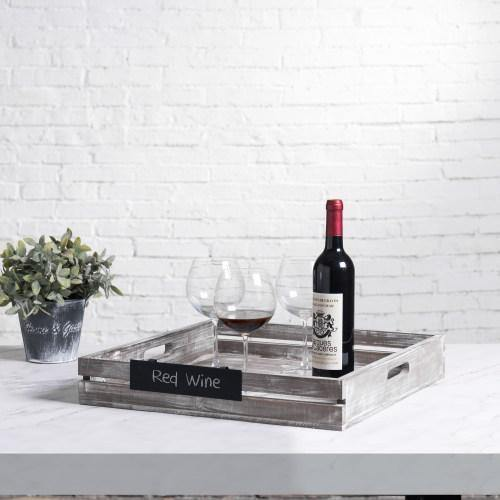 Large Rustic Crate Style Serving Tray with Metal Chalkboard Label