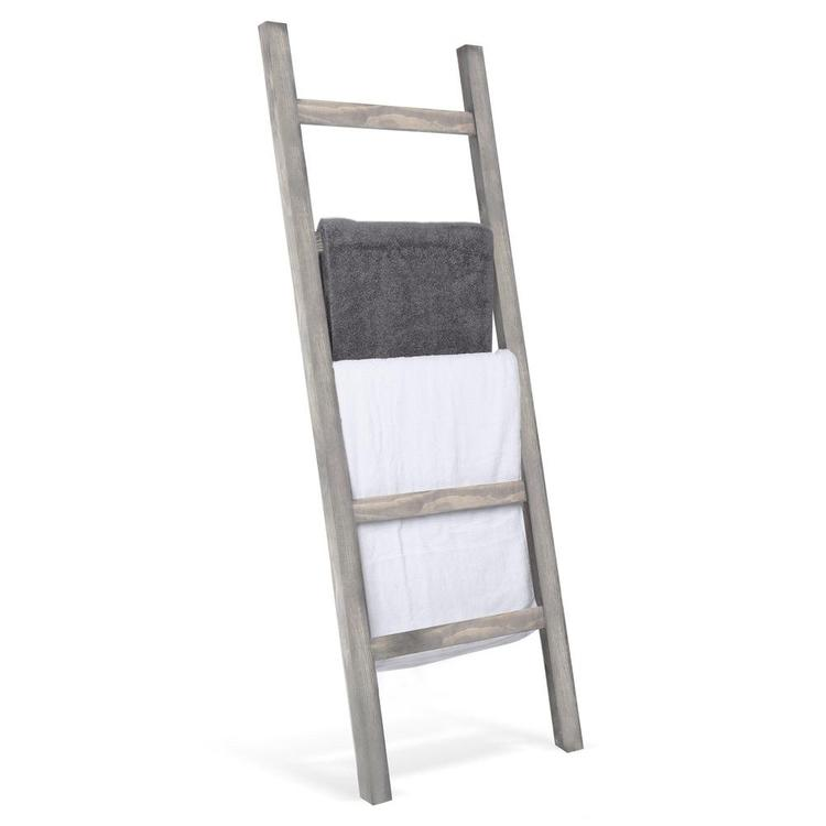 Wall-Leaning Rustic Gray Wood Ladder-Style Blanket Rack - MyGift Enterprise LLC