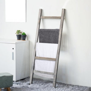 Leaning Towel Ladder Rack in Rustic Gray Wood