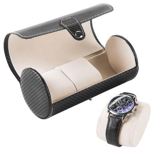 Leatherette 3-Watch Roll Case with Carbon Fiber Design