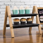 Light Brown and Dark Torched Wood Dessert Display Stand