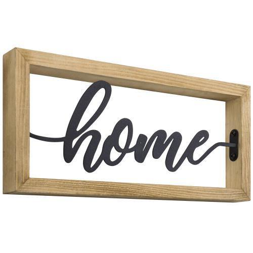 Light Brown Burnt Wood & Black Metal Decorative Home Sign - MyGift