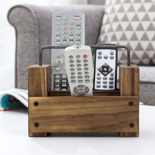 Light Brown Burnt Wood Remote Control Organizer w/ Metal Handle - MyGift