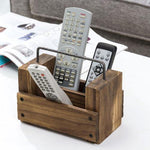 Light Brown Burnt Wood Remote Control Organizer w/ Metal Handle