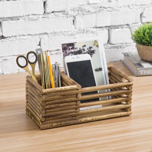Log Style Burnt Wood Remote Control/Office Supply Organizer - MyGift