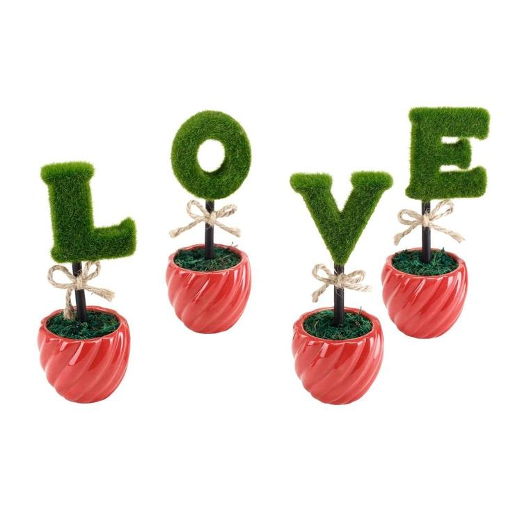 LOVE Artificial Sculpted Topiary Hedge Letters with Red Ceramic Pots - MyGift Enterprise LLC