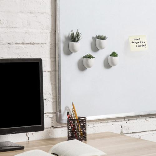 Magnetic Mini Faux Succulents in White Ceramic Pots-MyGift
