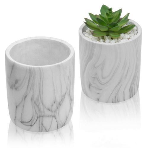 Marble Design Cement Round Planter Pots, Set of 2 - MyGift
