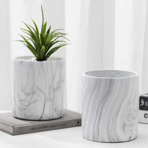 Marble Design Cement Round Planter Pots, Set of 2