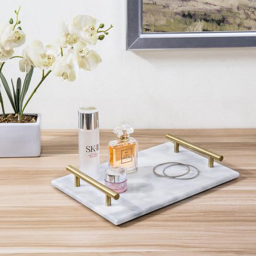 Marble Serving Tray with Brass Handles